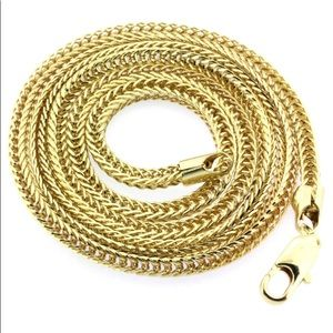 New 14K Franco Chain Necklace Real Gold Plated